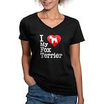 I Love My Fox Terrier Women's V-Neck Dark T-Shirt