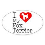 I Love My Fox Terrier Sticker (Oval)