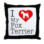 I Love My Fox Terrier Throw Pillow