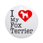 I Love My Fox Terrier Ornament (Round)