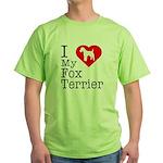 I Love My Fox Terrier Green T-Shirt