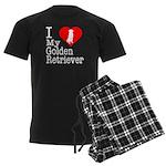 I Love My Golden Retriever Men's Dark Pajamas
