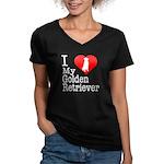 I Love My Golden Retriever Women's V-Neck Dark T-S