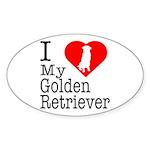 I Love My Golden Retriever Sticker (Oval 10 pk)