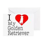 I Love My Golden Retriever Greeting Cards (Pk of 2