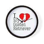 I Love My Golden Retriever Wall Clock