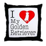I Love My Golden Retriever Throw Pillow