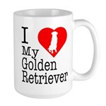 I Love My Golden Retriever Large Mug