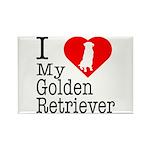 I Love My Golden Retriever Rectangle Magnet