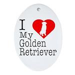 I Love My Golden Retriever Ornament (Oval)
