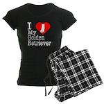 I Love My Golden Retriever Women's Dark Pajamas