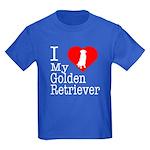 I Love My Golden Retriever Kids Dark T-Shirt