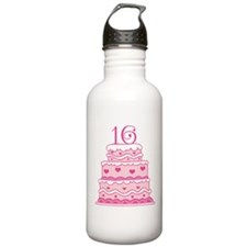 16th Anniversary Cake Water Bottle