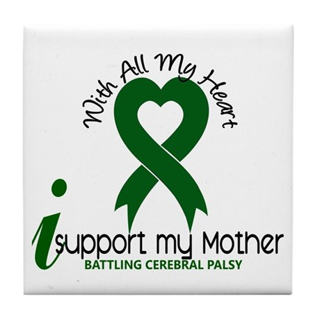 With All My Heart Cerebral Palsy Tile Coaster
