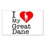 I Love My Great Dane Sticker (Rectangle)