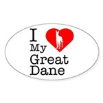 I Love My Great Dane Sticker (Oval 50 pk)
