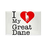 I Love My Great Dane Rectangle Magnet (10 pack)
