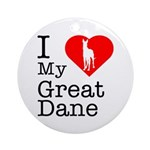 I Love My Great Dane Ornament (Round)