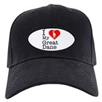 I Love My Great Dane Black Cap