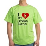 I Love My Great Dane Green T-Shirt