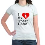 I Love My Great Dane Jr. Ringer T-Shirt