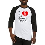 I Love My Great Dane Baseball Jersey