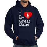 I Love My Great Dane Hoodie (dark)