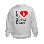 I Love My Great Dane Kids Sweatshirt