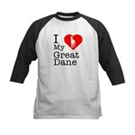 I Love My Great Dane Kids Baseball Jersey