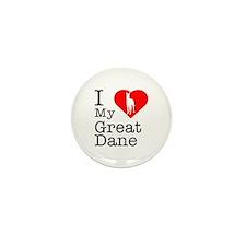 I Love My Great Dane Mini Button (10 pack)
