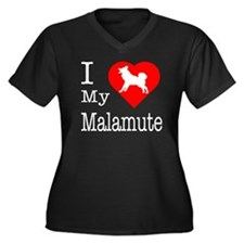 I Love My Malamute Women's Plus Size V-Neck Dark T