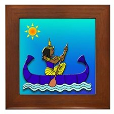 Isis in Blue & Gold #2 Framed Tile