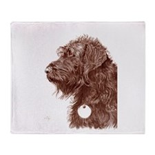 Chocolate Labradoodle 4 Throw Blanket