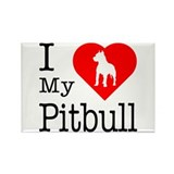 I Love My Pitbull Terrier Rectangle Magnet (10 pac