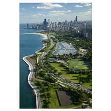 Aerial view of a city, Lake Shore Drive, Lake Mich