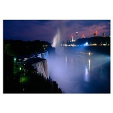High angle view of waterfalls at night, American F