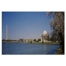 River in front of a monument, Washington Monument,