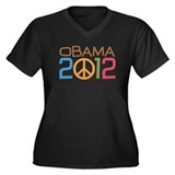 Obama Peace Sign Women's Plus Size V-Neck Dark T-S