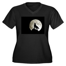 Lone Wolf Women's Plus Size V-Neck Dark T-Shirt