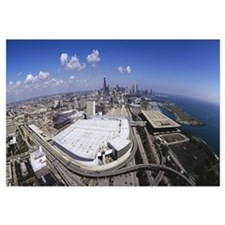 High angle view of a city, McCormick Place, Chicag
