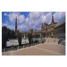 Tourists at a plaza, Plaza De Espana, Seville, And