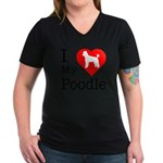 I Love My Poodle Women's V-Neck Dark T-Shirt