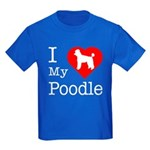 I Love My Poodle Kids Dark T-Shirt