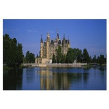 Reflection of a castle in water, Schwerin Castle,