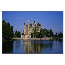 Reflection of a castle in water, Schwerin Castle,
