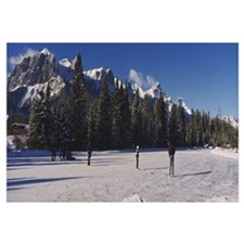 Frozen pond on a mountainside, Canmore, Alberta, C