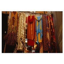 Low angle view of sari hanging in a store, Upper B