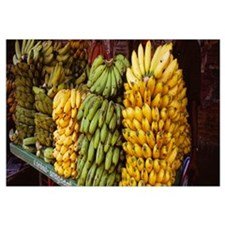 Bunches of banana on a market stall, Thanjavur, Ta