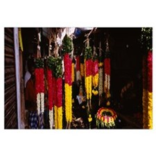Garlands hanging at a market stall, Pondicherry, I