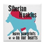 Husky Pawprints Tile Coaster